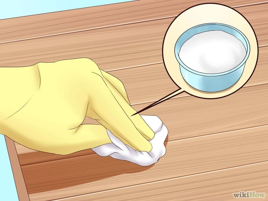how to remove a white heat stain from a wood table