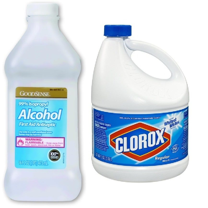 alcohol and bleach