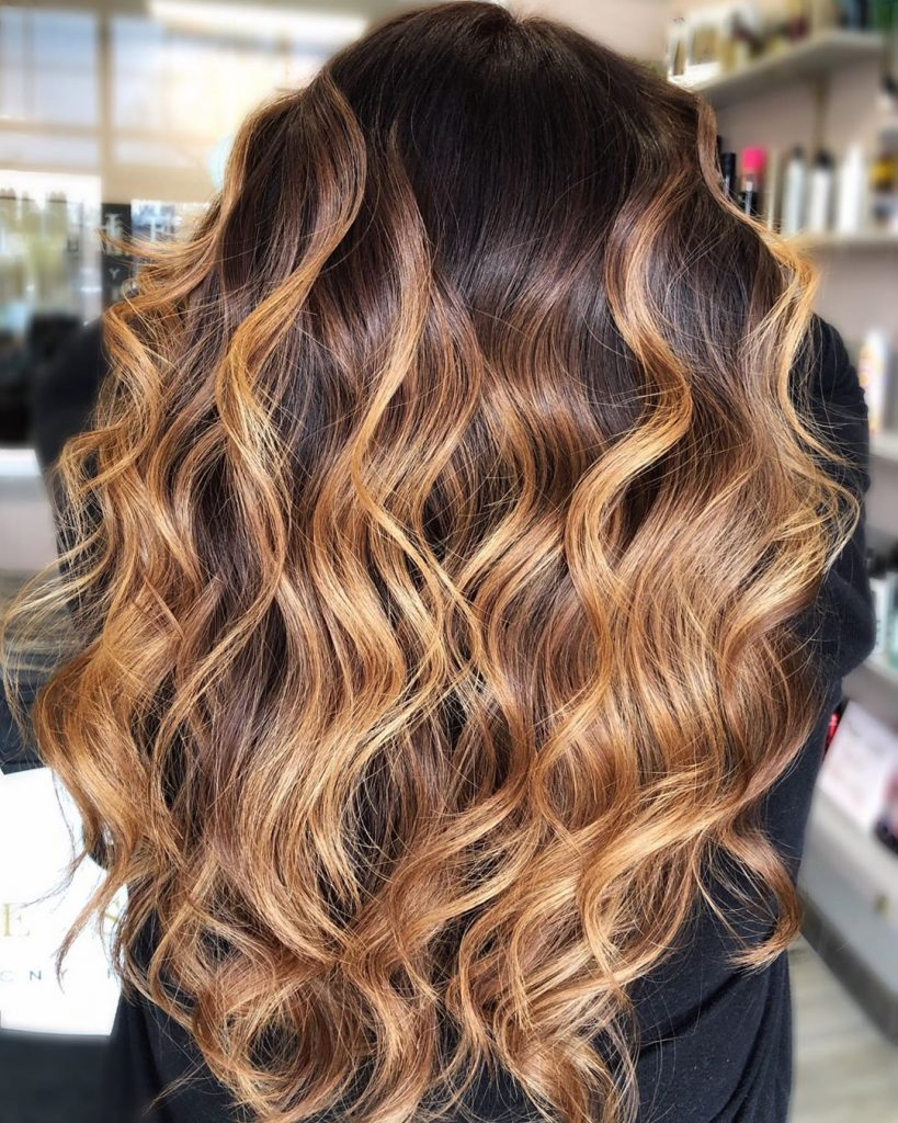 Brown to caramel blonde ombre